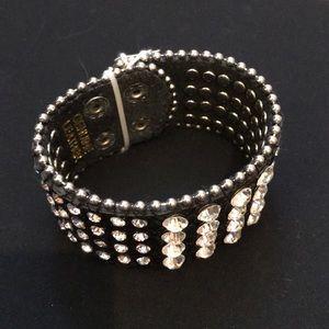 Jewelry - Rocker Blk Leather Bling Cuff